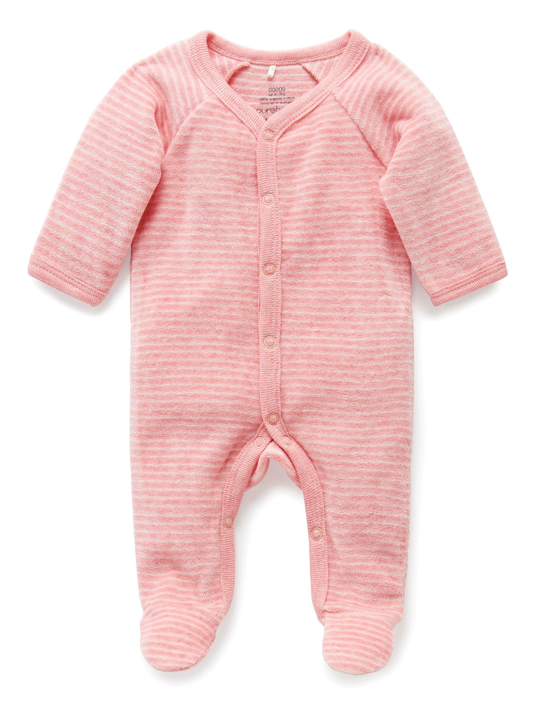 Pure Baby Premmie Velour Growsuit - Bud Pink Stripe