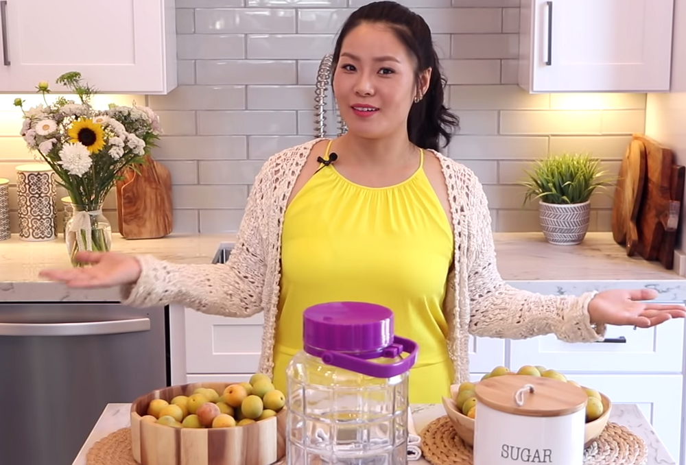 Seonkyoung Longest Youtube chef from Asian at home using Maesilhood's green apricot maesils to make maesil syrup that she uses to cook Korean food.