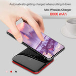 Wireless Charger +USB + Power Bank Advanced technology combine powerbank with wireless charging pad, dual USB outputs, support charge up to 3 devices 8000 mAh
