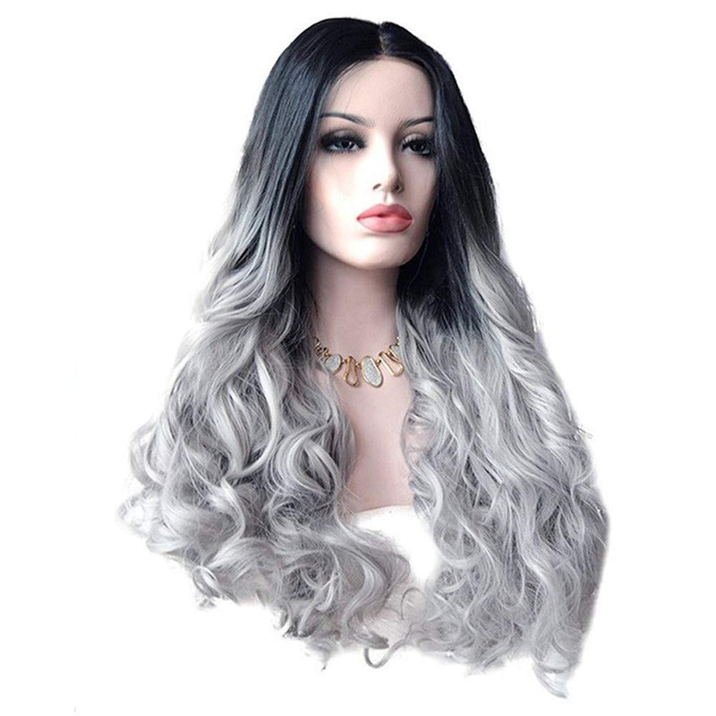 Cosplay OWMEOT Wig Long Curly Hair Dark Root Side Part for Women Synthetic Christmas Costume 30 Inch (Black)