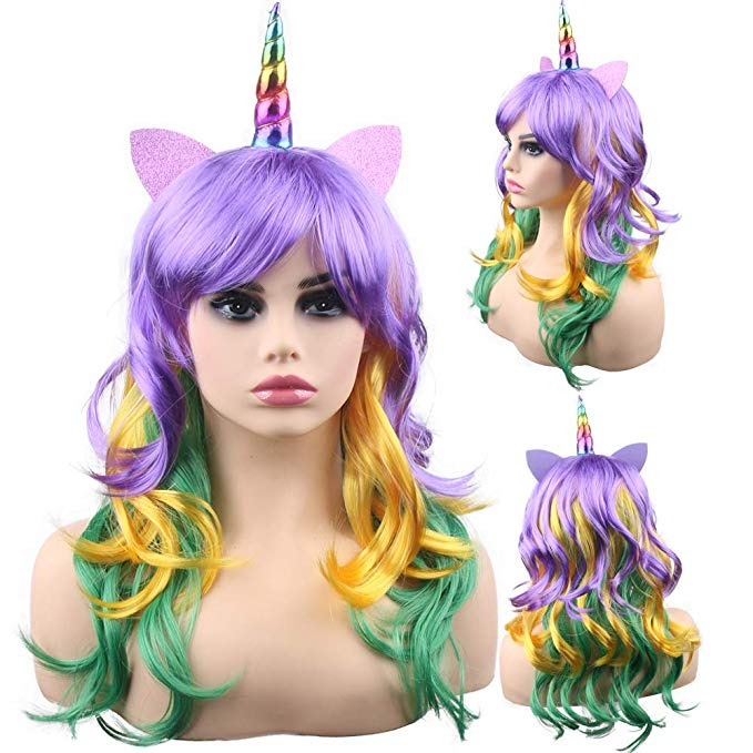 Women Cosplay Rainbow Dash with Unicorn Little Ponies Long Curly Hair Beauty Synthetic Hair Wigs Party Hats