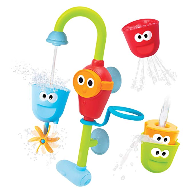 AmyFans Baby Bath Toy - Flow N Fill Spout - 3 Stackable Cups and Waterfall Spout