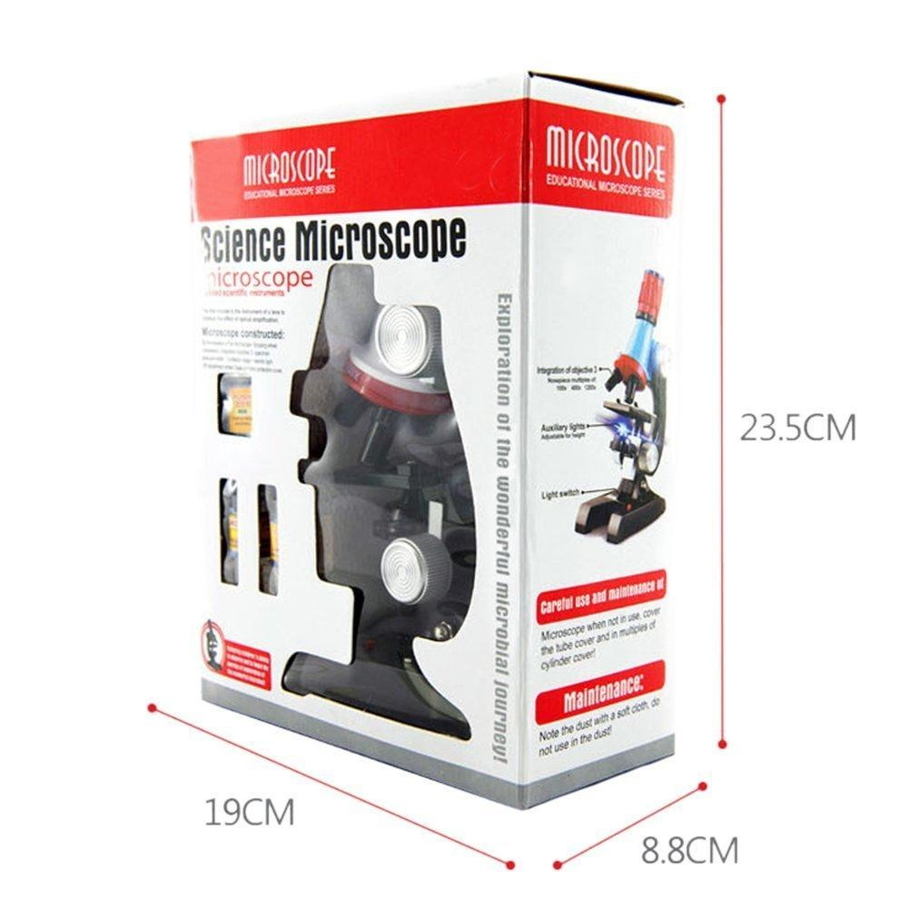Beginner Microscope Kit, Microscope Kit Lab LED 100X-1200X Home School Educational Toy Gift For Kids Boys