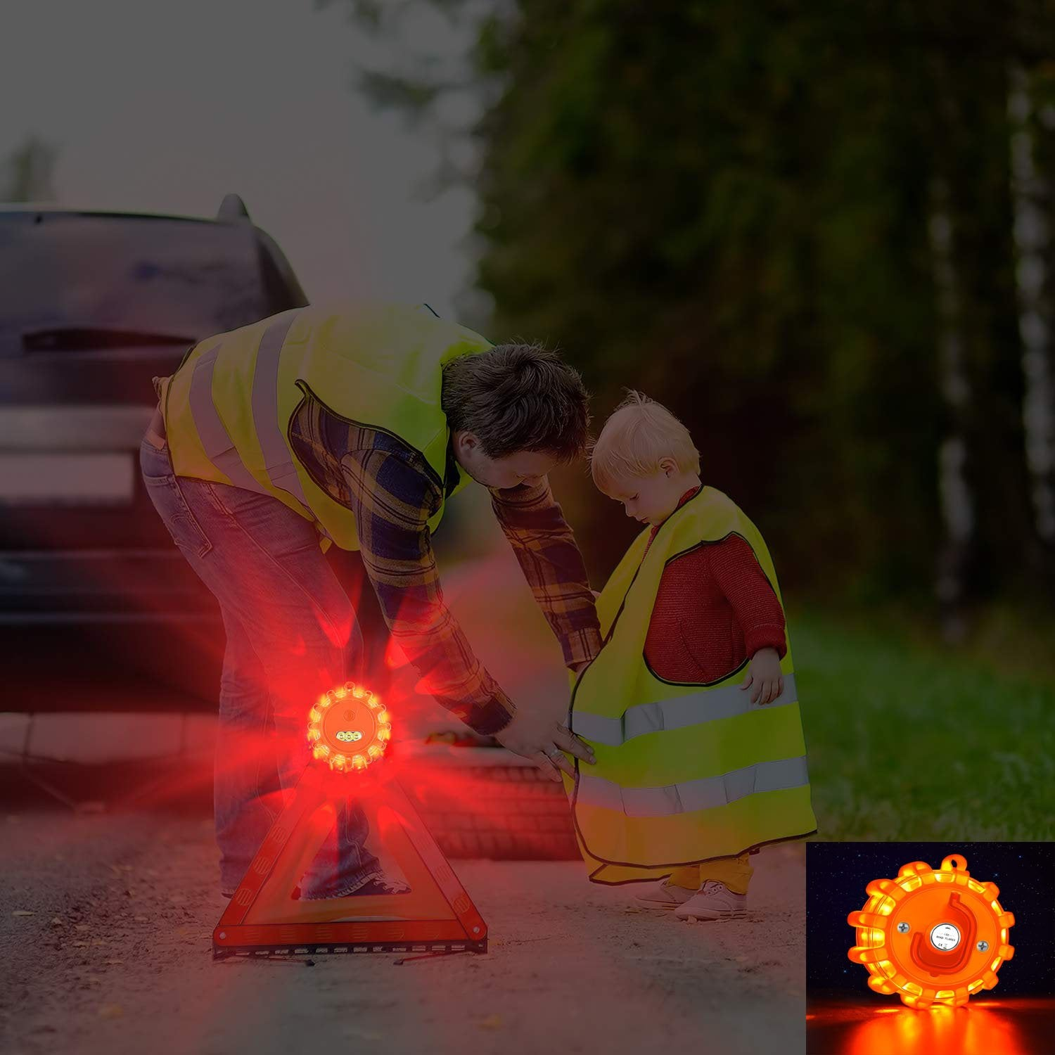 Pack of 3 LED Road Flares Magnetic Emergency Flashing Safety Warning Light Car Road Signal Lamp