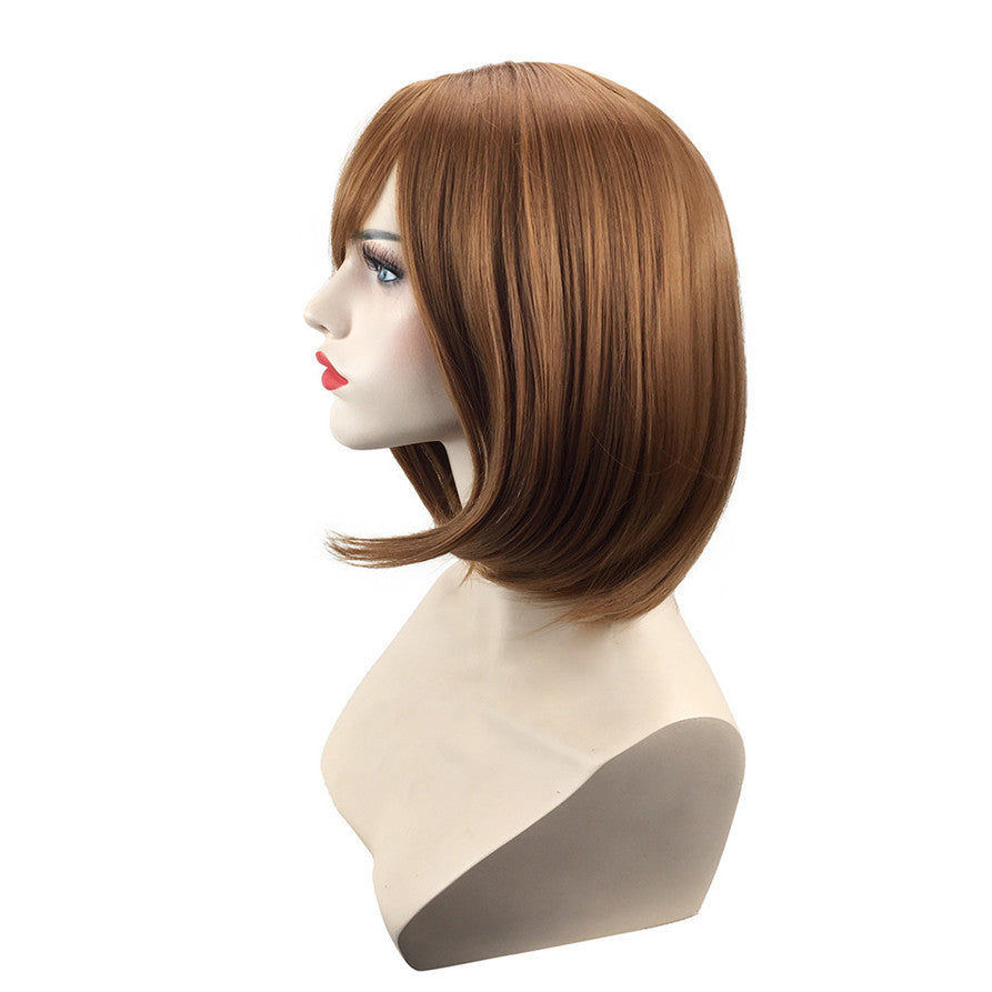 Short Bob Wig-Women's Ladies Full Head Straight Brown Wigs For Halloween Costume Cosplay party and Daily Use Fancy Dress Synthetic Hair Natural Fashionable Heat Resistant Natural Looking Celebrity Wig