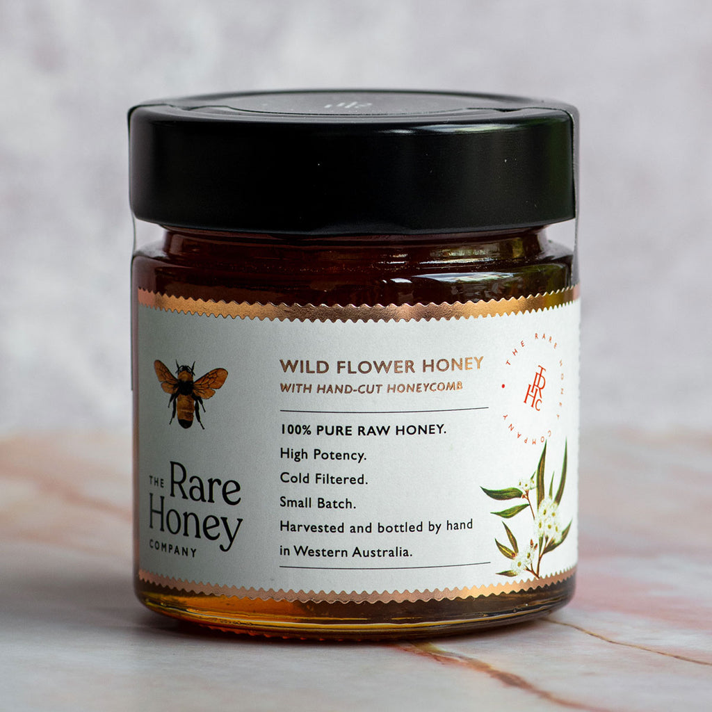 Wildflower honey with hand-cut honeycomb
