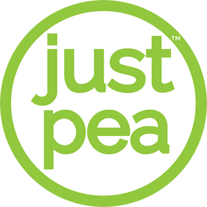 Logo for JustPea, the vegan pea protein powder made in the USA