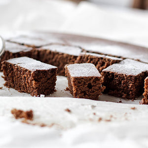 Small pieces of pea protein brownies