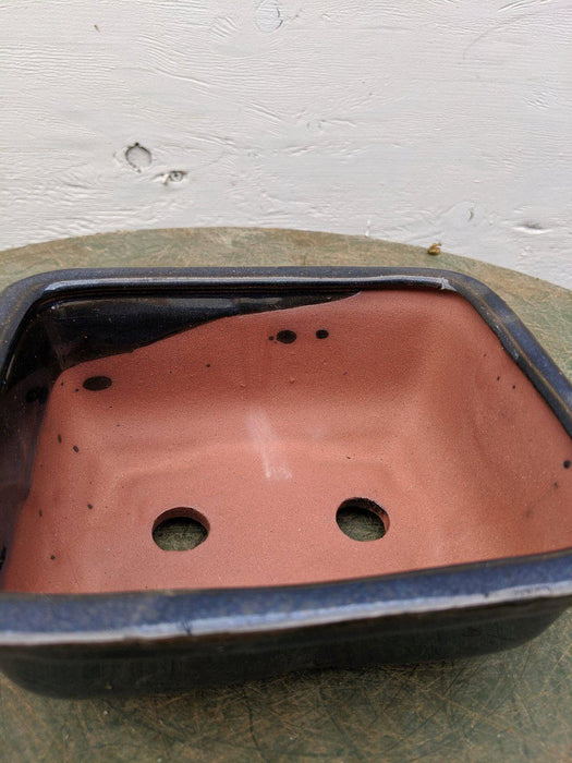 Blue Ceramic Bonsai Pot - Rectangle Inside