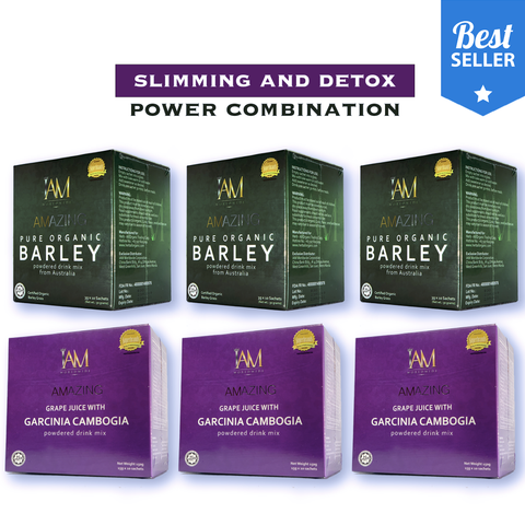 Slimming Combo (Detox + Cleansing + Slimming + Immune System Booster) 3 Barley & 3 Garcinia