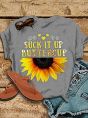 Frauen Sunflower Print Kurzarm T-Shirt