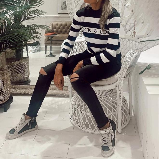 (sale)Sleeve casual knitted T-shirt with stripes