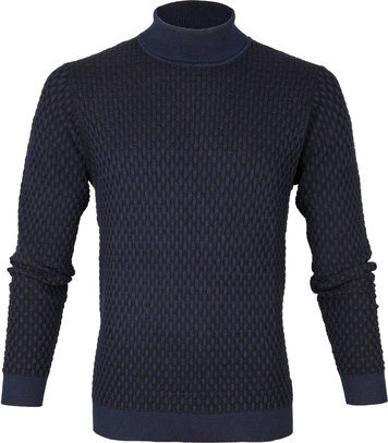 Blue Industry Waffle Turtle Neck