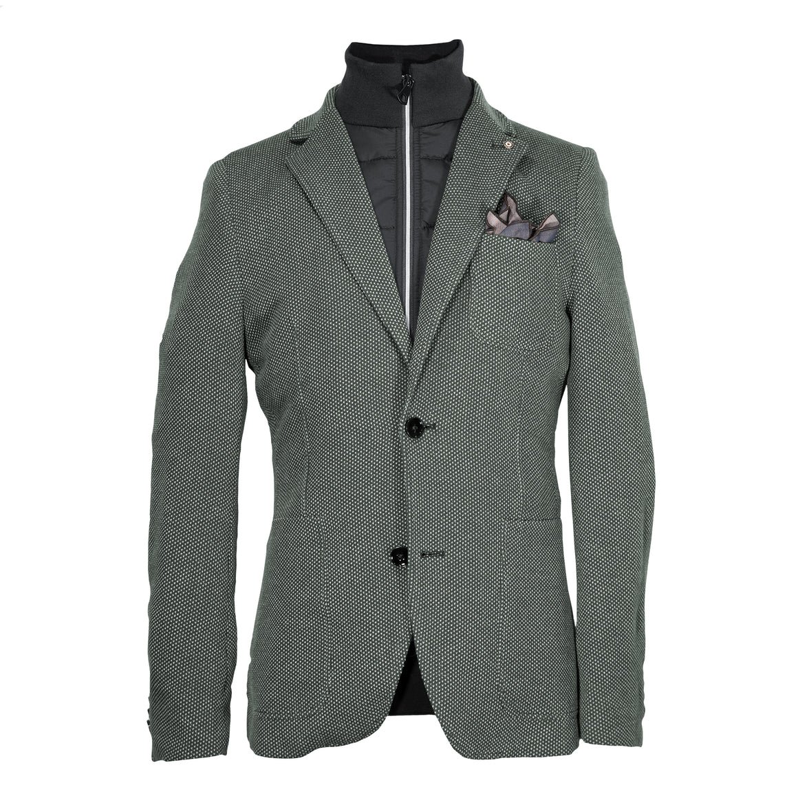 Blue Industry Knit Blazer with Removable Inlay