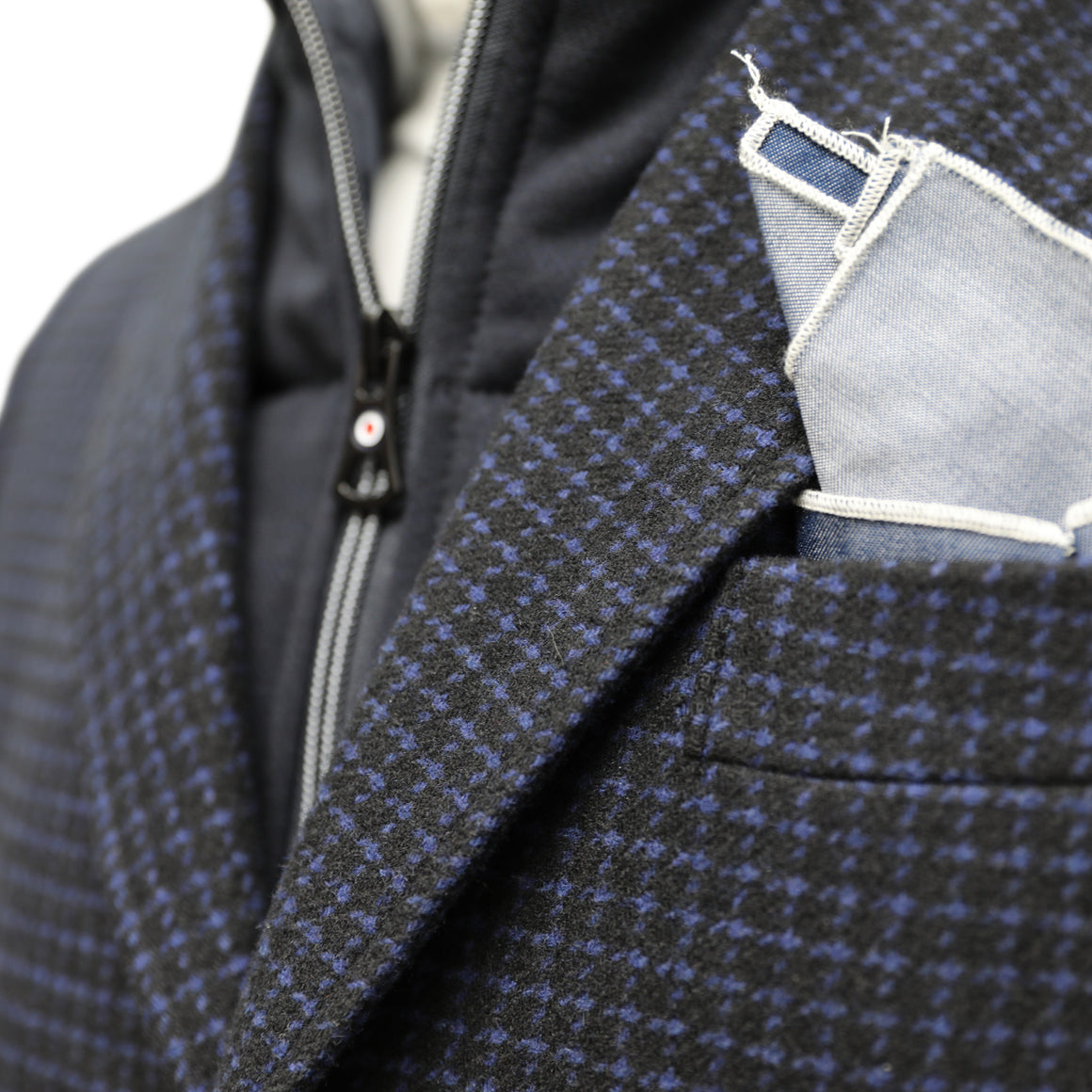 Blue Industry Geometric Check Overcoat