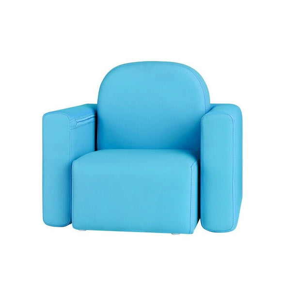 Kids Convertible Armchair / Table | PU Leather | Teal - Buytoys.com.au