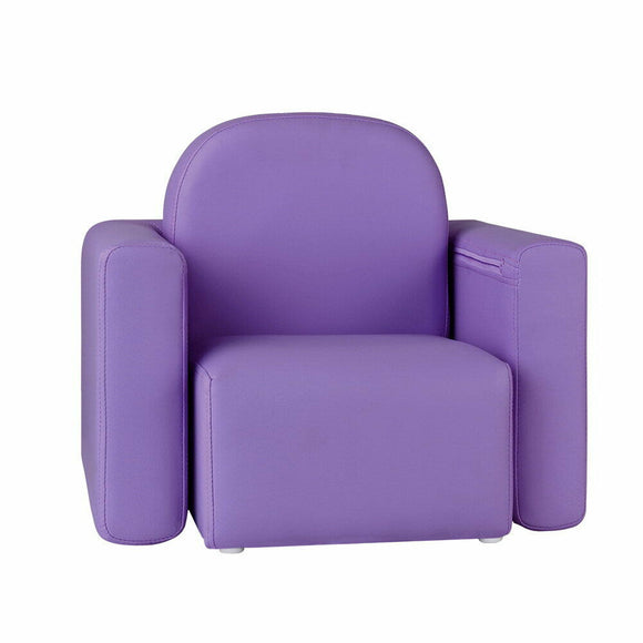 Kids Convertible Armchair / Table | PU Leather | Purple - Buytoys.com.au