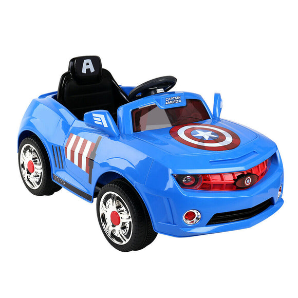 Disney Captain America Kids Ride On Car | Blue / Red - Buytoys.com.au