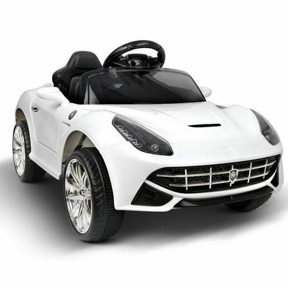 Rigo Ferrari F12 Inspired Kids Ride On Car | White - Buytoys.com.au