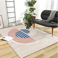 Pink color post-modern decoration coffee table carpet Nordic style big size bedside rug,  geometric living room rug