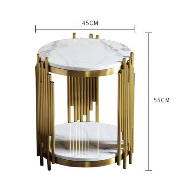 Stainless steel gold plated modern living room small coffee table luxury sofa side table Nordic creative round end table