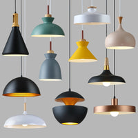 Nordic restaurant lamps Modern minimalist office chandeliers Aluminum single-head pendant lamp shade Dining room chandeliers