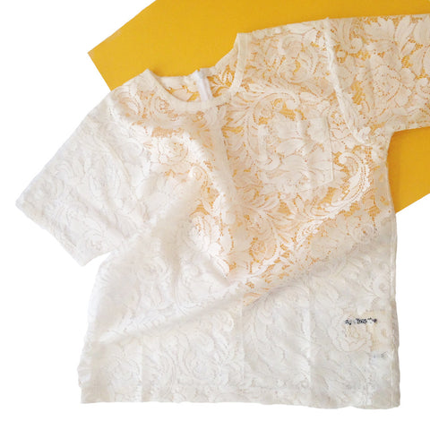 White T-Shirt | Cream Lace | M