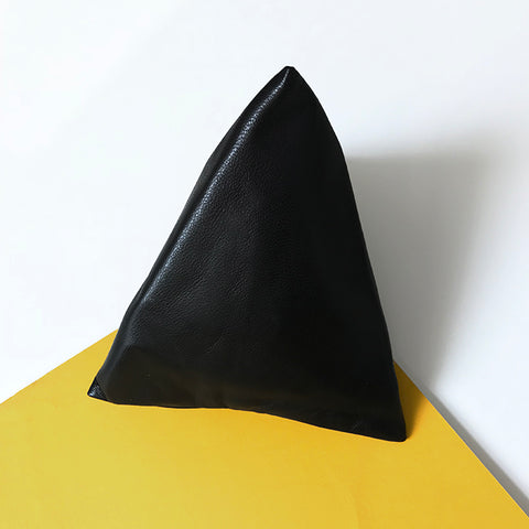 Pyramid Coin Purse in Black Lambskin