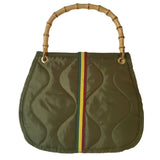 Quilted Nylon Bamboo Handle Bag | Olive