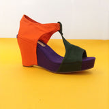 Wedge Sandal in Tri-Color