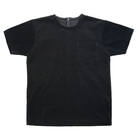 White T-Shirt | Black Corduroy