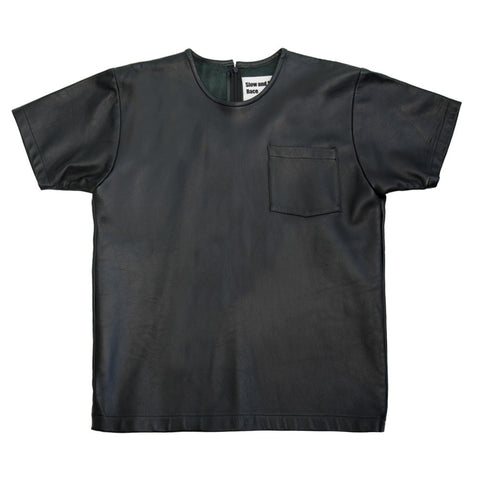 Leather Pocket T in Black