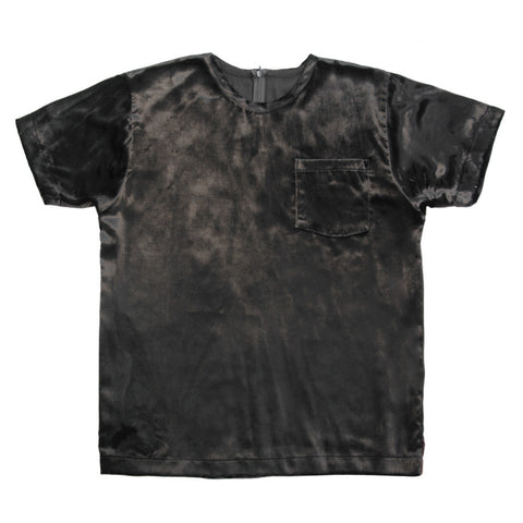 White T-Shirt | Black Panne Velvet