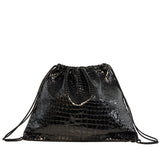 Drawstring Backpack | Black Embossed Croc