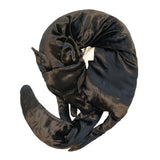 Faux Fox Scarf in Black Panne Velvet
