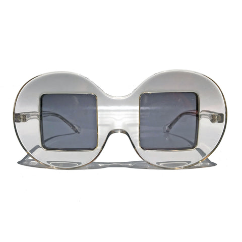 Circle Frame Square Lens | Clear