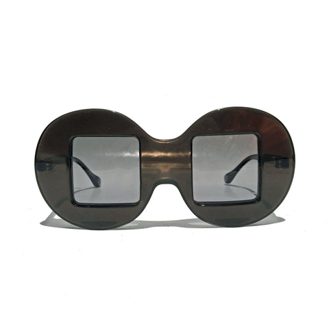 Circle Frame Square Lens | Grey