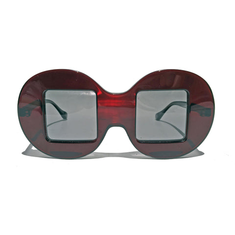Circle Frame Square Lens | Red