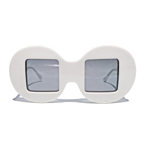 Circle Frame Square Lens | White