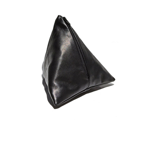 Pyramid Coin Purse | Black Leather
