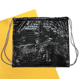 Drawstring Backpack in Black Embossed Croc with Grey Straps