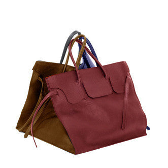Four Sided Rectangular Bag in Duo | Red, Cognac
