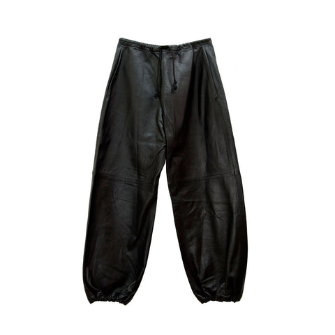 Leather Sweatpants in Black