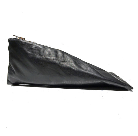 Pyramid Pencil Case | Black Lambskin