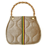 Quilted Bamboo Handle Bag | Khaki