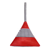 Striped Pyramid Bag in Red Grid