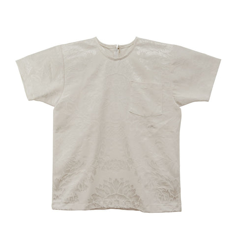 White T-Shirt in Damask