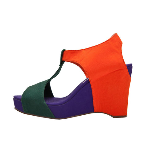 Wedge Sandal - Orange, Green, Purple