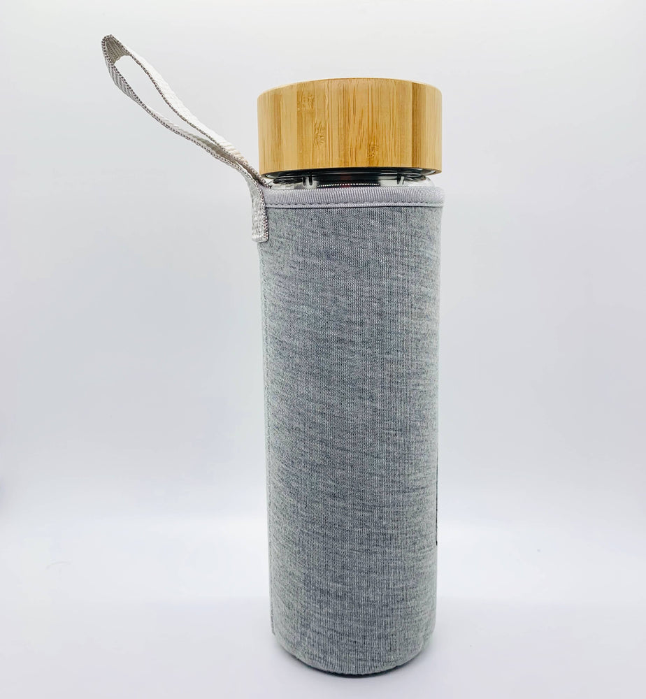Bamboo Lid Glass Water Bottle 16oz