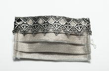 Load image into Gallery viewer, Pretty Designer Masks Silver Woven Pewter Lace Trim